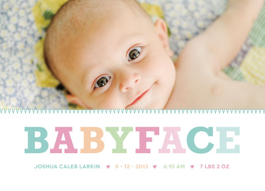 birth announcements - Baby Face by Susan Brown