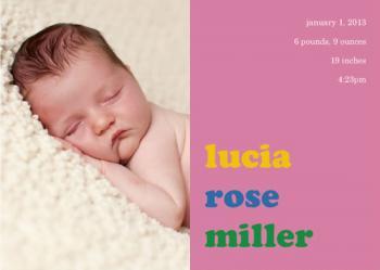 Colorblock Birth Announcements