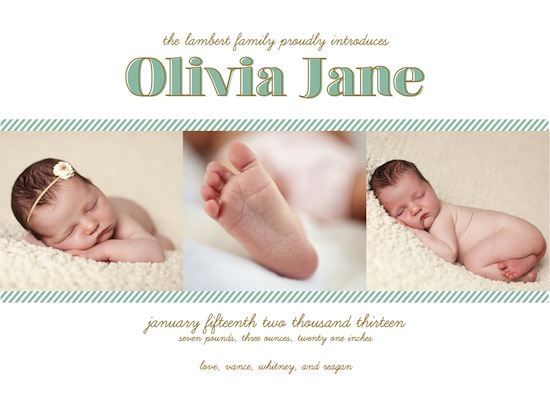 birth announcements - Sweet Stripes by Goldenberry Paper