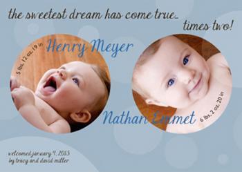 Twin bubbles Birth Announcements
