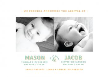 Twin Type Birth Announcements