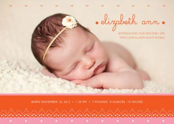 Sweet Eyelet Birth Announcements