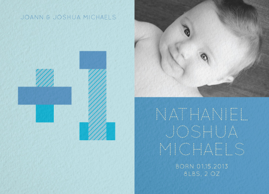 birth announcements - Plus One Baby Boy by A Little Big Picture