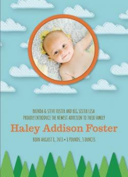 Clouds and Trees Birth Announcements