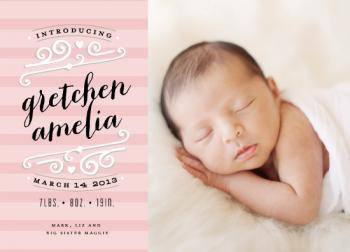 Heart Striped Label Birth Announcements