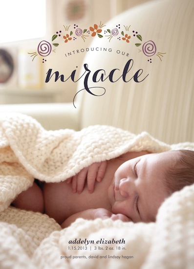 birth announcements - Tiny Miracle by Goldenberry Paper