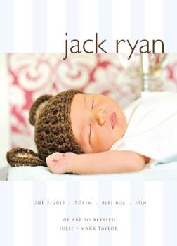 Baby Blue Blessings Birth Announcements