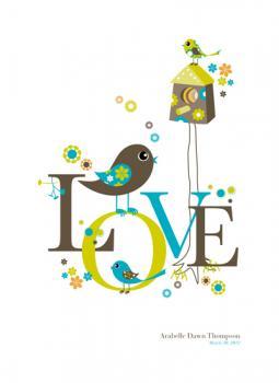 Whimsical Love Birds Art Prints