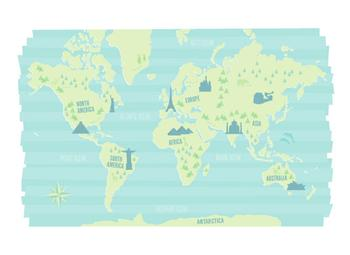 Modern World Landmark Map Art Prints