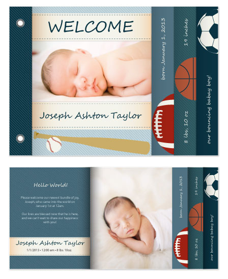 minibook cards - bouncing baby boy birth announcement by Nef Designs