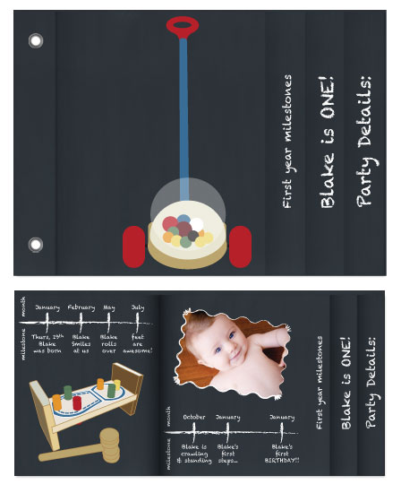 minibook cards - Chalkboard First Year Timeline by Kathlyn Starbuck