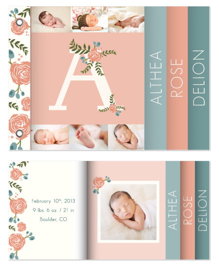 minibook cards - floral monogram with photo collage by Alana Stites