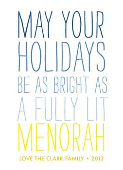 Fully Lit Menorah Non-Photo Holiday Cards