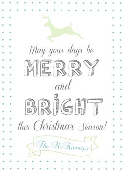 Custom & Simple Reindeer May Your Days Be Merry & Bright Christmas Card Non-Photo Holiday Cards