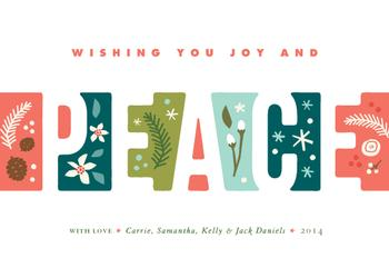 Illustrated Peace Non-Photo Holiday Cards