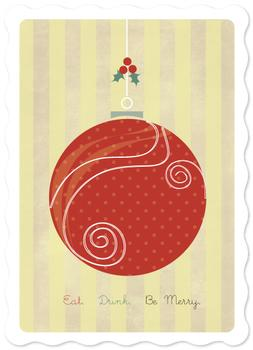 Ornament Swirls Non-Photo Holiday Cards