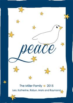 Whimsical Peaceful Dove Non-Photo Holiday Cards