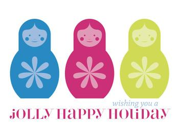 Jolly Matryoshka Non-Photo Holiday Cards