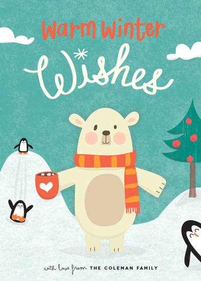 non-photo holiday cards - polar wishes by guess what?
