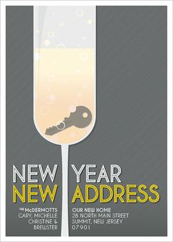 New Year New Address Non-Photo Holiday Cards