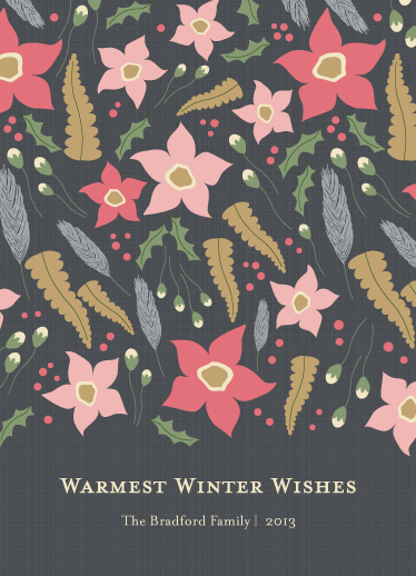 non-photo holiday cards - WarmWinterFloral