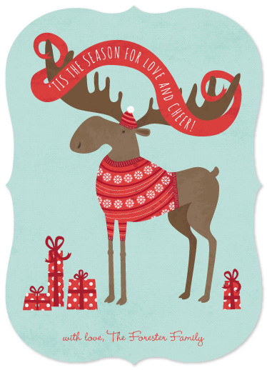 non-photo holiday cards - Cheery Moose