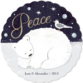 peace polar bear Non-Photo Holiday Cards