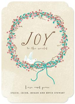 joy to the world peace and love Non-Photo Holiday Cards
