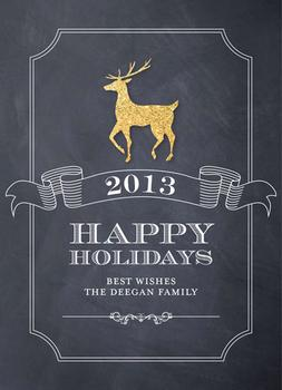 Golden Glittering Reindeer Non-Photo Holiday Cards