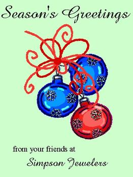 Three Ornaments Business Holiday Cards