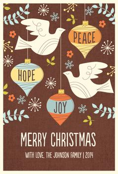 MidCentury Peace Dove Non-Photo Holiday Cards