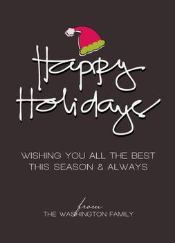 santa hat Non-Photo Holiday Cards