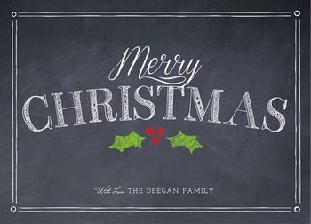 Merry Christmas Chalkboard Billboard Non-Photo Holiday Cards