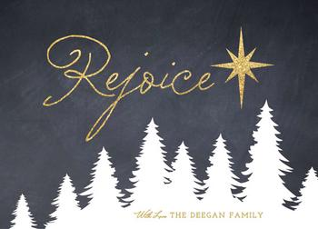 Glittering Rejoice Non-Photo Holiday Cards
