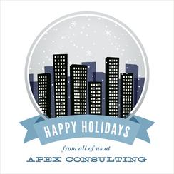 Snow Globe City Business Holiday Cards