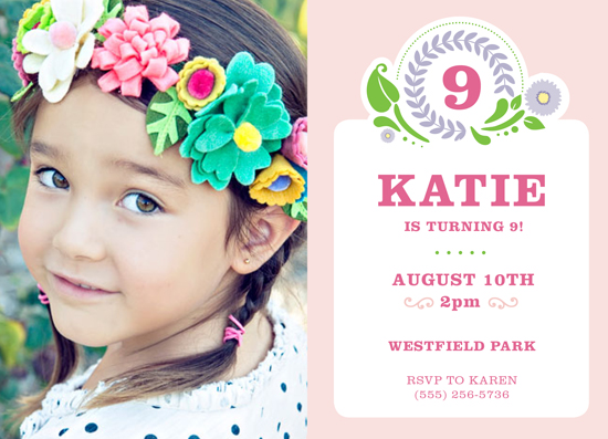 party invitations - Birthday Flower Girl by Adori Designs