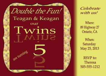 Twins Beary Birthday Party Invitations