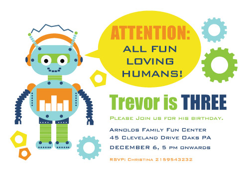 party invitations - Robot Birthday Party by Ankita Kejariwal