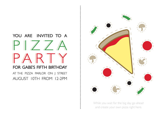 party invitations - Pizza Party by Vanessa Wolfe