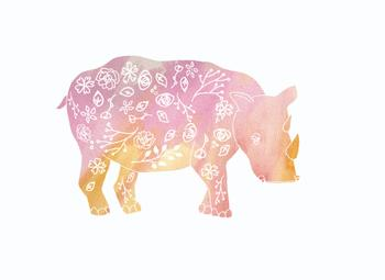 Tattooed Pink Rhino Art Prints