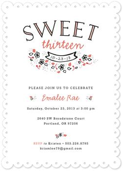 Sweet Teen Party Invitations