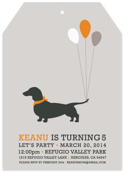 Hot Dog Tag Birthday Invite