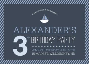 Ships Ahoy Birthday Invitation Party Invitations