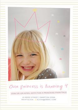 Hand Drawn Princess Tiara Party Invitations