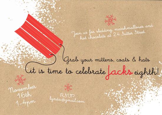 party invitations - Sledding Birthday by Vanessa Wolfe