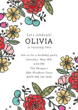 Annabelle Floral Party Invitations