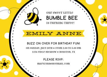 Bzzing Birthday Bumblebee Party Invitations