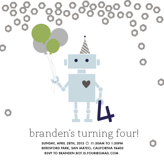 party invitations - Robot Ready Birthday by White Lemon Designs