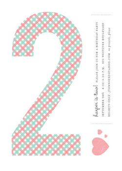 gingham 2 Party Invitations