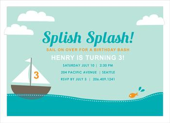 splish splash sailing Party Invitations